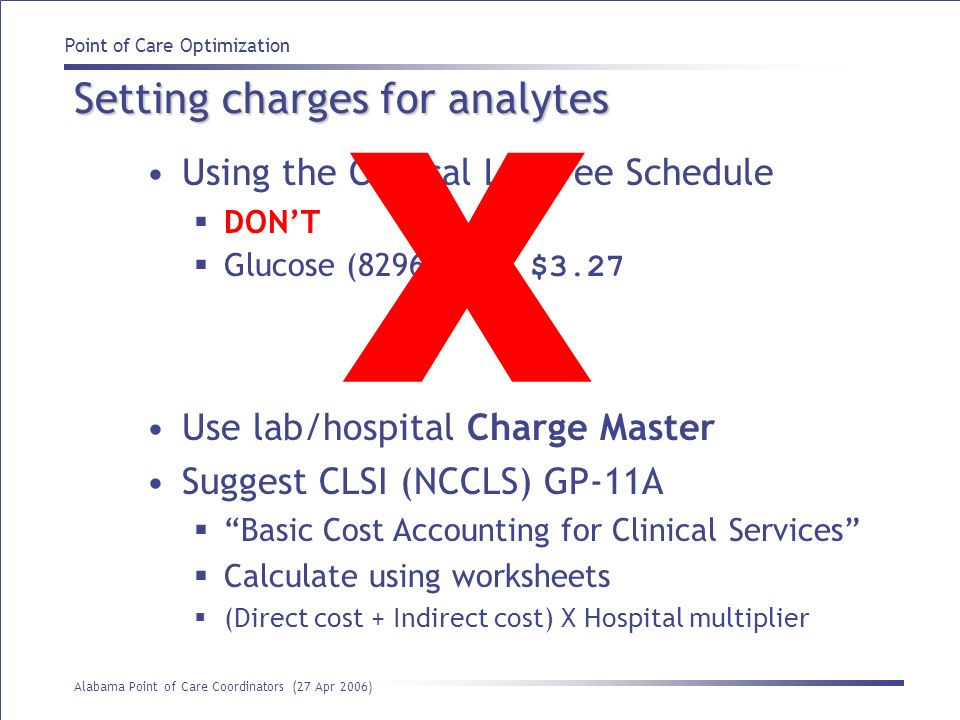 Setting charges for analytes