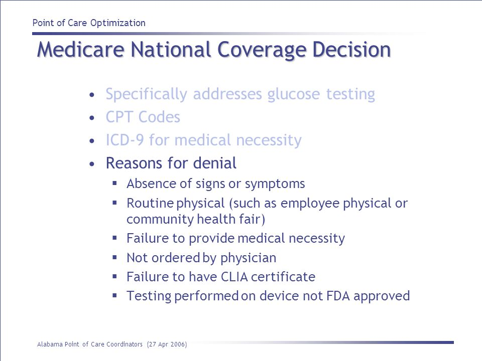 Medicare National Coverage Decision