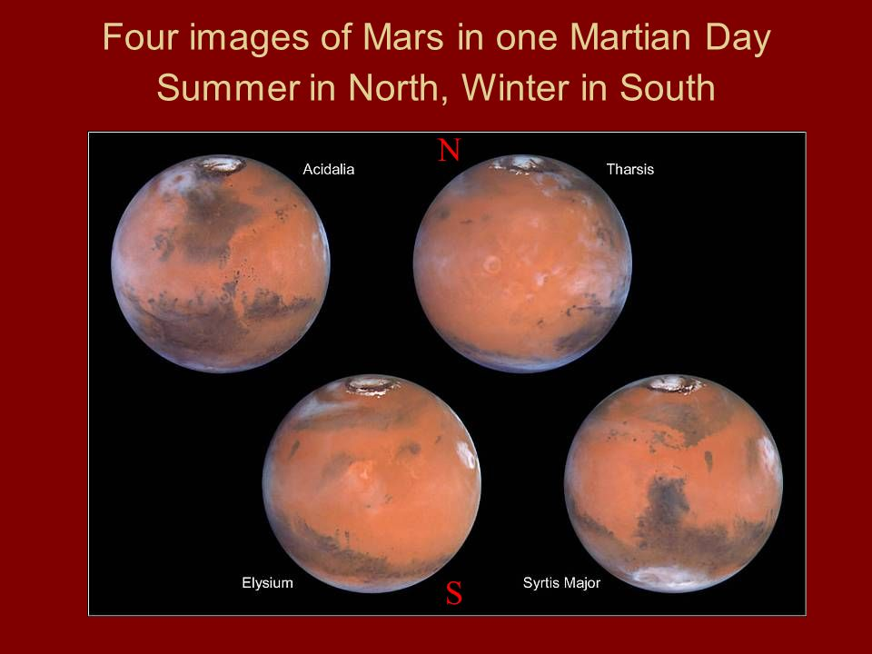 Four images of Mars in one Martian Day Summer in North, Winter in South