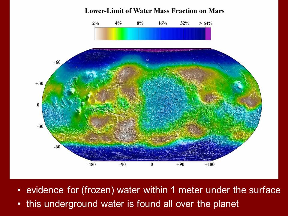 evidence for (frozen) water within 1 meter under the surface