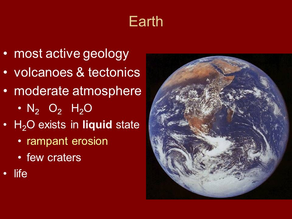 Earth most active geology volcanoes & tectonics moderate atmosphere