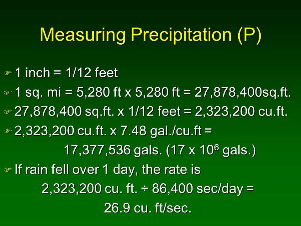 Measuring Precipitation (P)