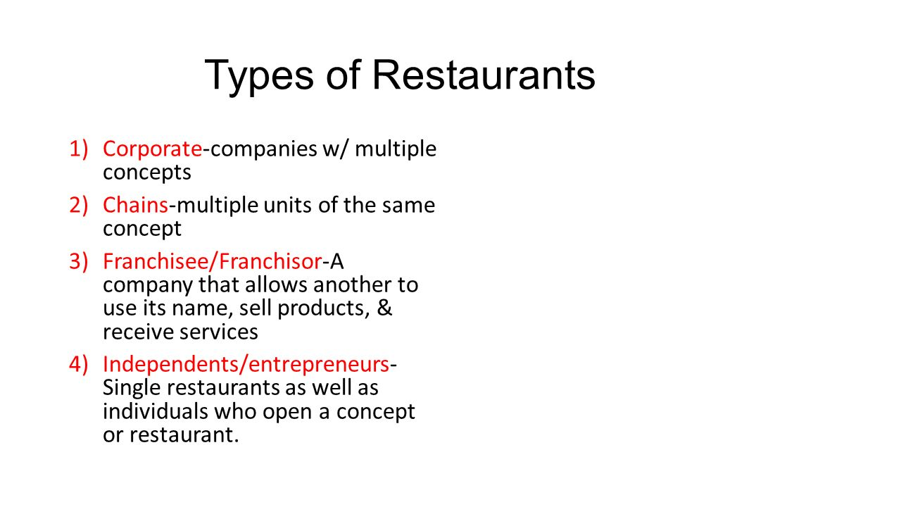 Types Of Restaurants Corporate Companies W Multiple Concepts