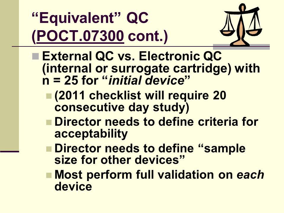 Equivalent QC (POCT.07300 cont.)