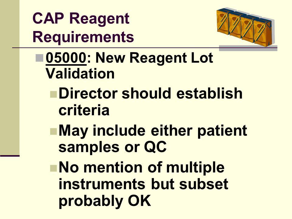 CAP Reagent Requirements