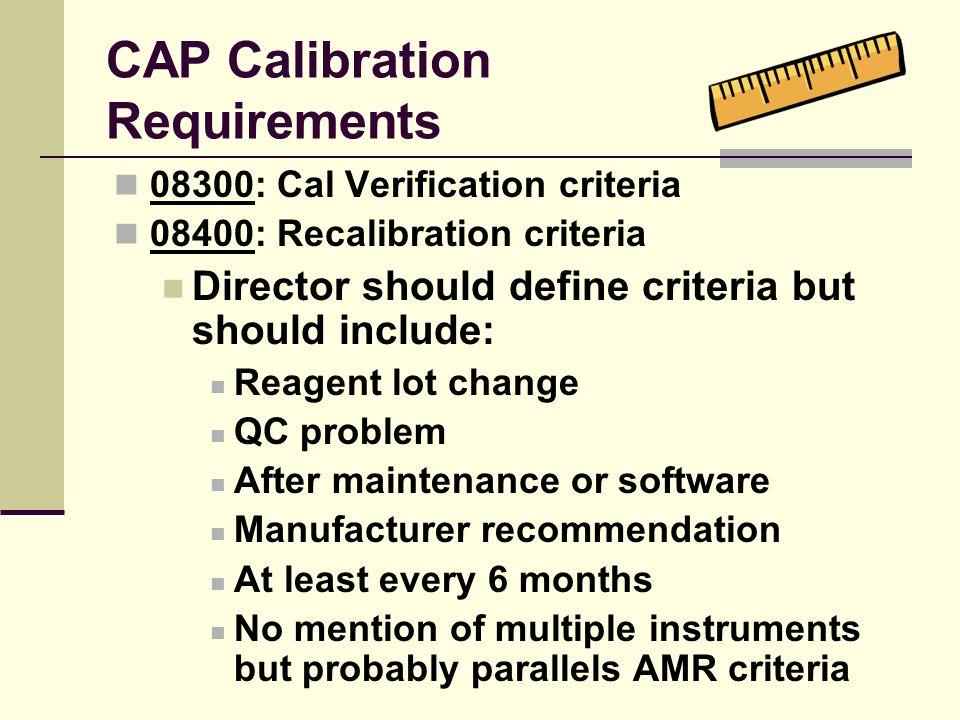 CAP Calibration Requirements