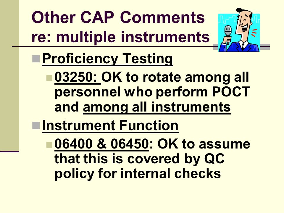Other CAP Comments re: multiple instruments