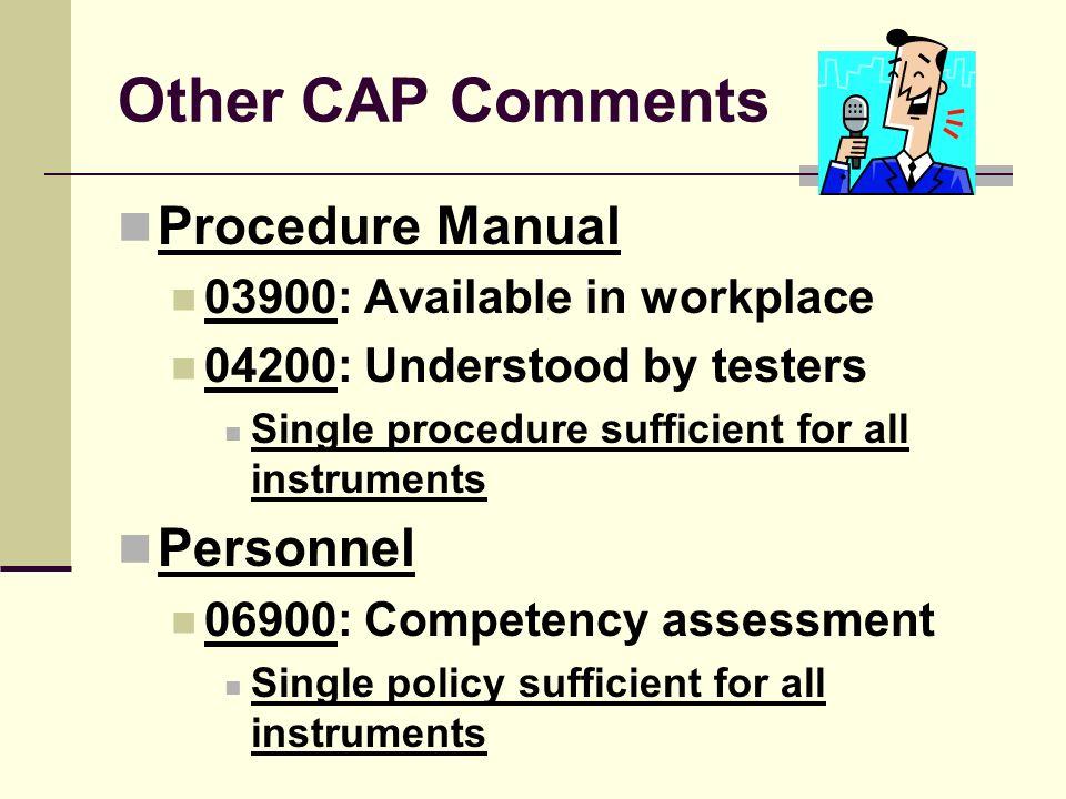 Other CAP Comments Procedure Manual Personnel