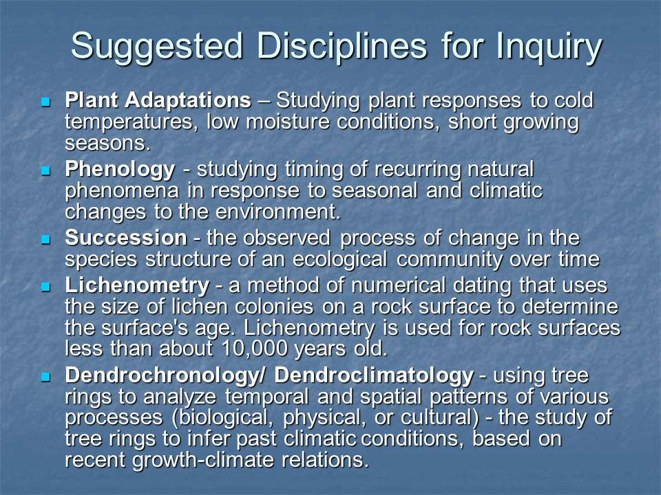 Suggested Disciplines for Inquiry