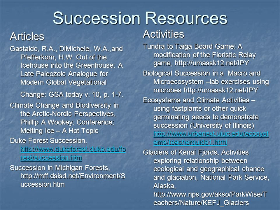Succession Resources Activities Articles