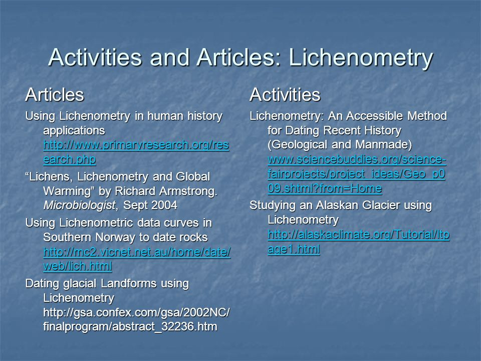 Activities and Articles: Lichenometry