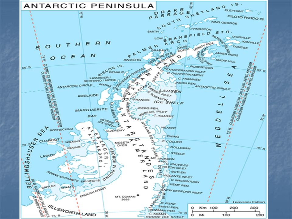 Most ice and snow-free land is found along the Antarctic Peninsula, associated islands, in coastal regions around the continent edge.