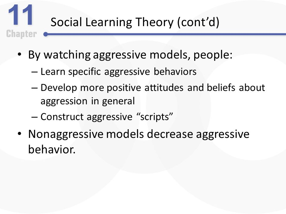 social learning theory and aggression Learning theories - social learning - kimberley a clow kclow2@uwoca  social learning theory bandura aggression other influences on.