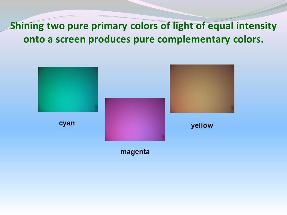 Shining two pure primary colors of light of equal intensity onto a screen produces pure complementary colors.