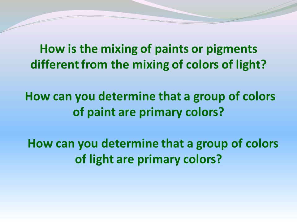 How is the mixing of paints or pigments different from the mixing of colors of light.