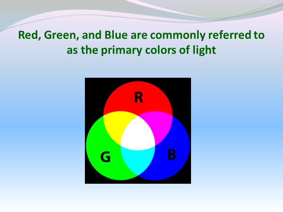 Red, Green, and Blue are commonly referred to as the primary colors of light