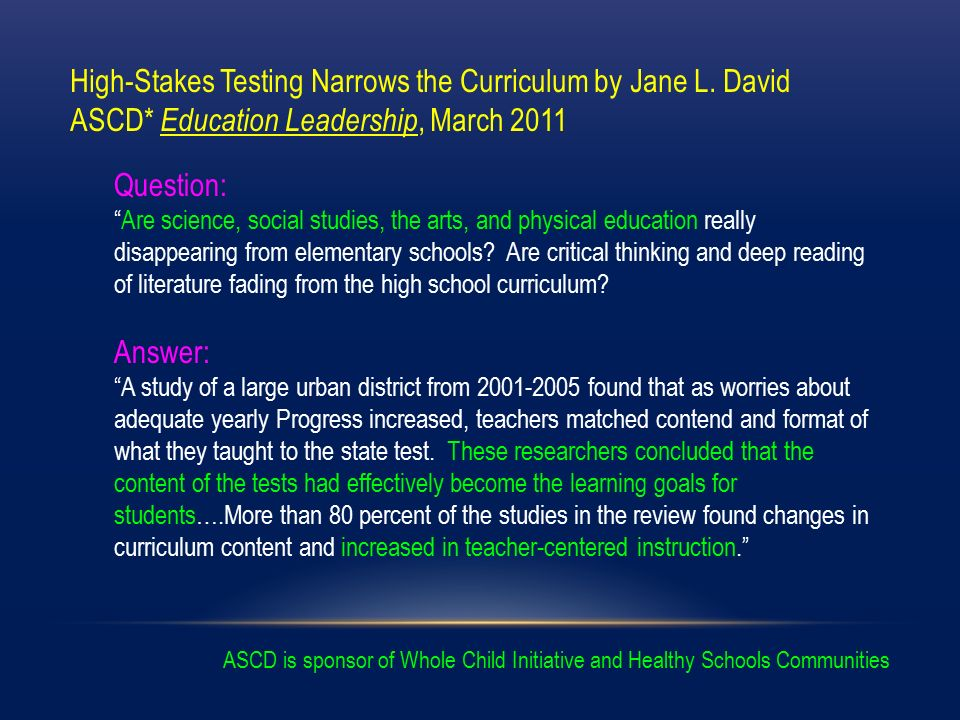 high stakes testing education and technology essay High-stakes assessments what has the last decade of testing policy taught us about the likelihood of improving the education system through high stakes testing.