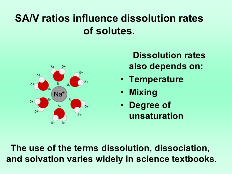 SA/V ratios influence dissolution rates of solutes.