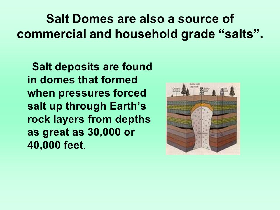 Salt Domes are also a source of commercial and household grade salts .