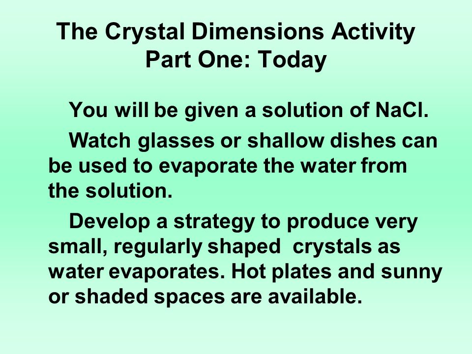 The Crystal Dimensions Activity Part One: Today