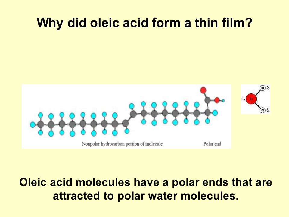 Why did oleic acid form a thin film