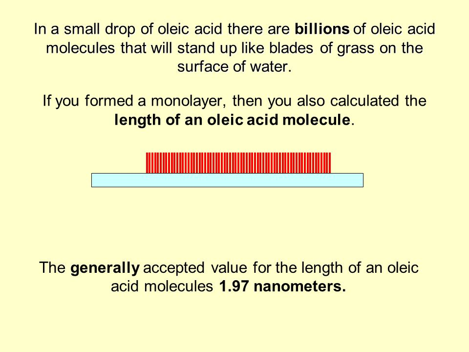 In a small drop of oleic acid there are billions of oleic acid molecules that will stand up like blades of grass on the surface of water. If you formed a monolayer, then you also calculated the length of an oleic acid molecule.