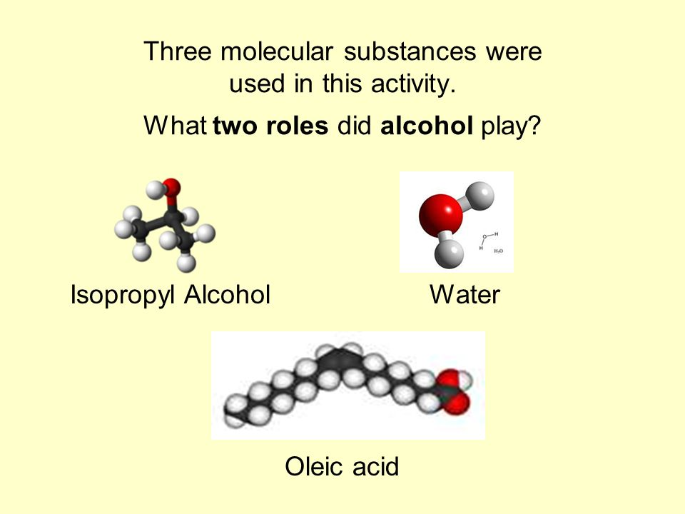 Three molecular substances were used in this activity