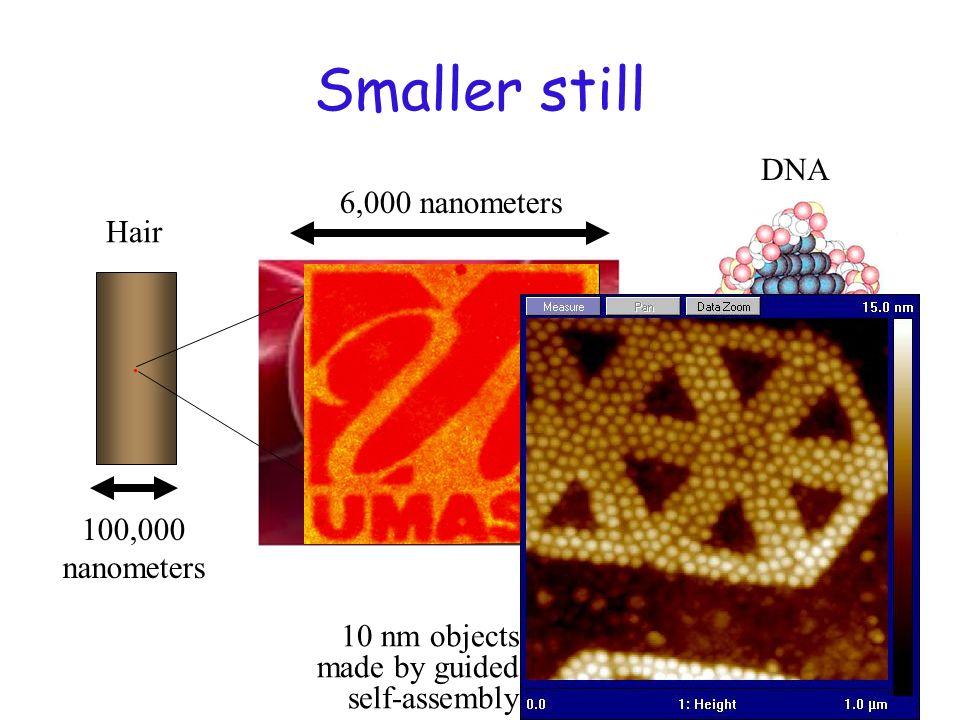 Smaller still DNA 6,000 nanometers Hair . 100,000 nanometers