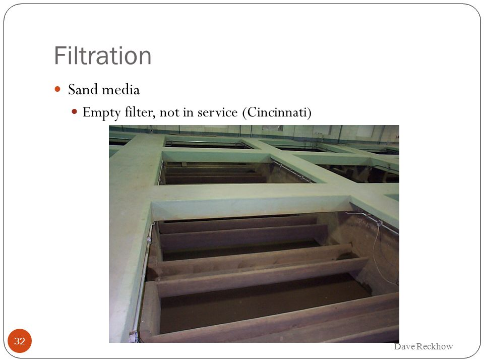 Filtration Sand media Empty filter, not in service (Cincinnati)
