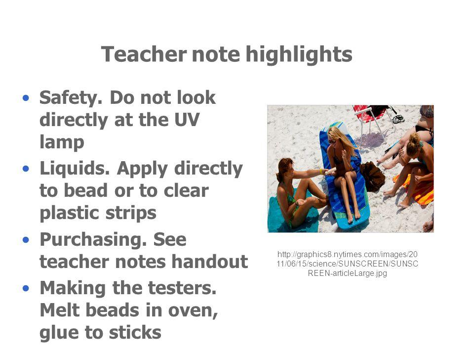 Teacher note highlights