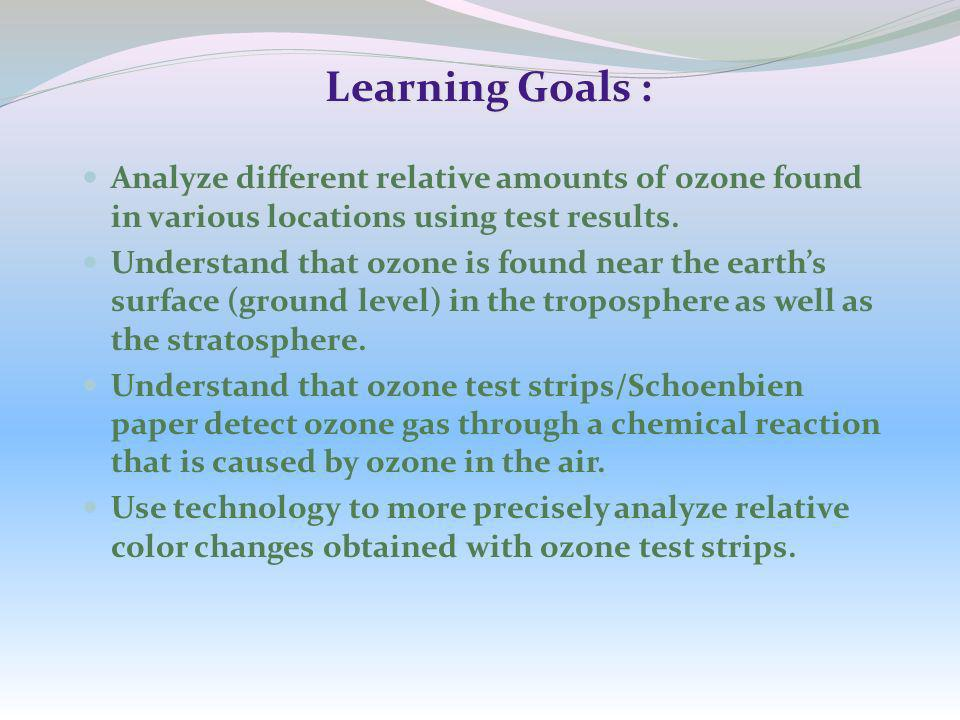 Learning Goals : Analyze different relative amounts of ozone found in various locations using test results.