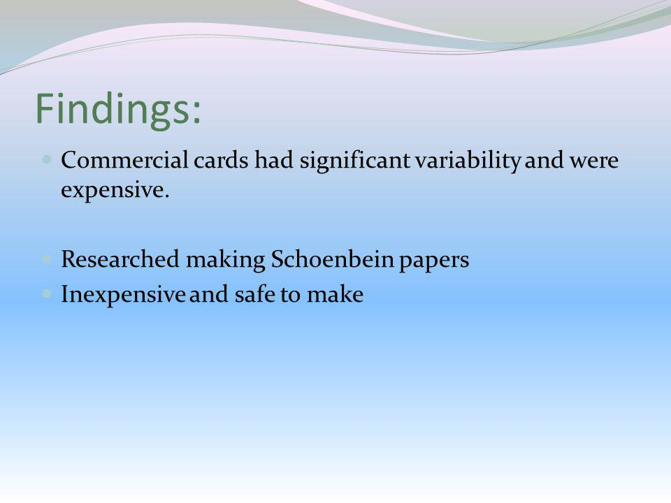 Findings:Commercial cards had significant variability and were expensive. Researched making Schoenbein papers.