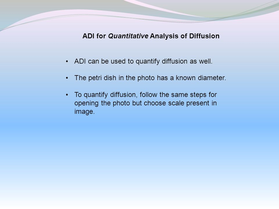 ADI for Quantitative Analysis of Diffusion