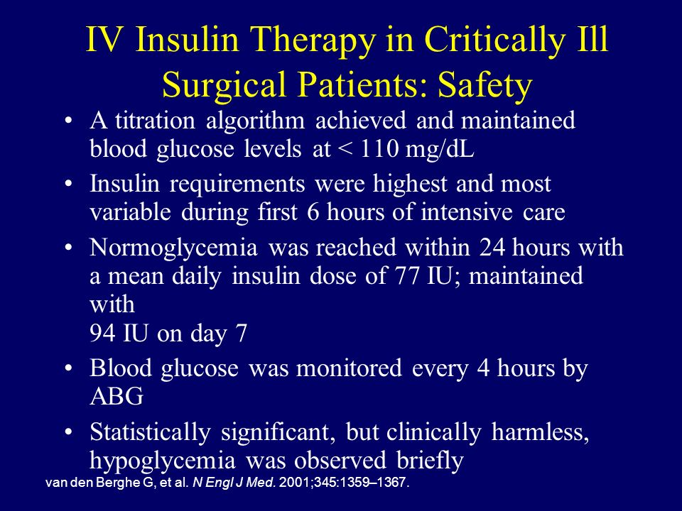 IV Insulin Therapy in Critically Ill Surgical Patients: Safety