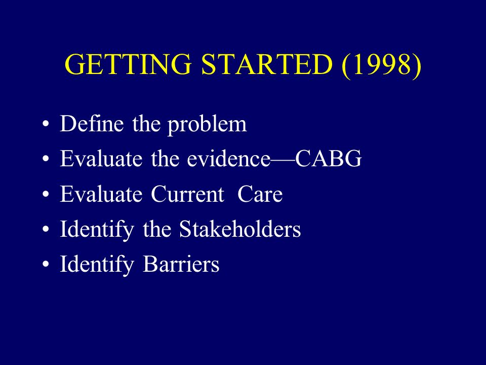 GETTING STARTED (1998) Define the problem Evaluate the evidence—CABG