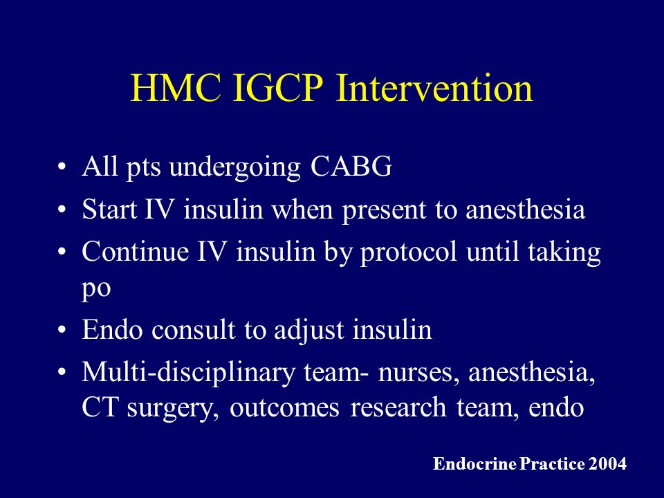 HMC IGCP Intervention All pts undergoing CABG