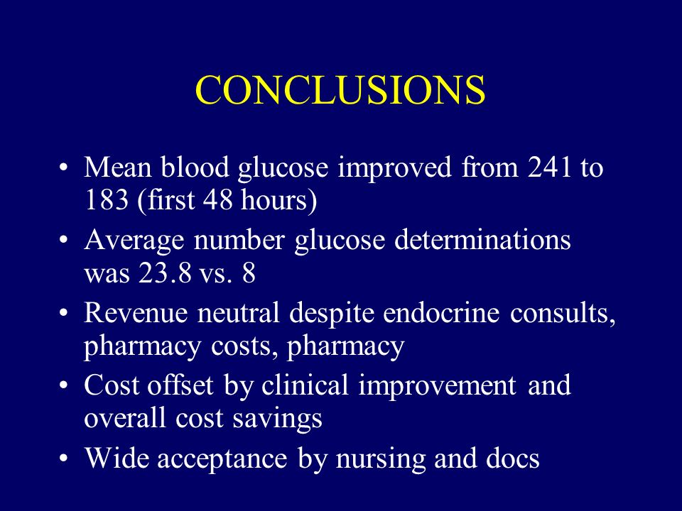 CONCLUSIONS Mean blood glucose improved from 241 to 183 (first 48 hours) Average number glucose determinations was 23.8 vs. 8.