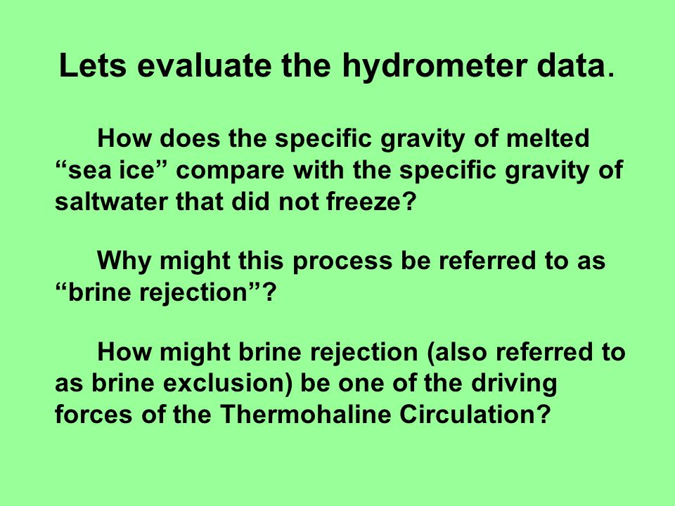 Lets evaluate the hydrometer data.