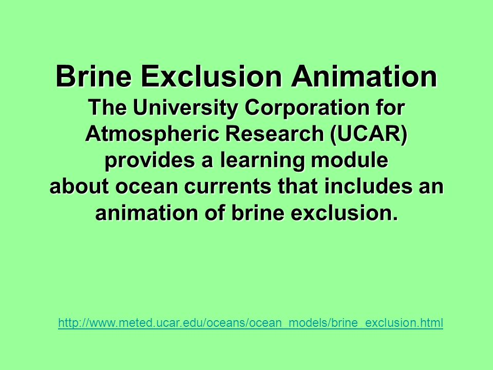 Brine Exclusion Animation The University Corporation for Atmospheric Research (UCAR) provides a learning module about ocean currents that includes an animation of brine exclusion.