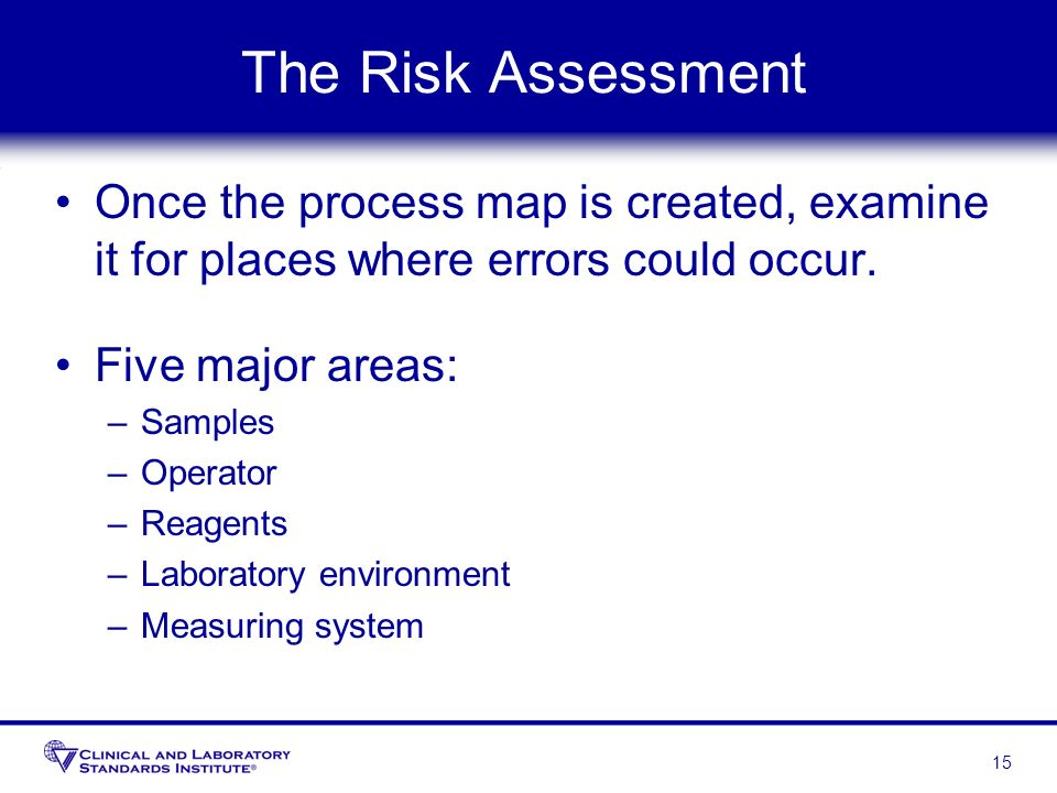 The Risk Assessment Once the process map is created, examine it for places where errors could occur.