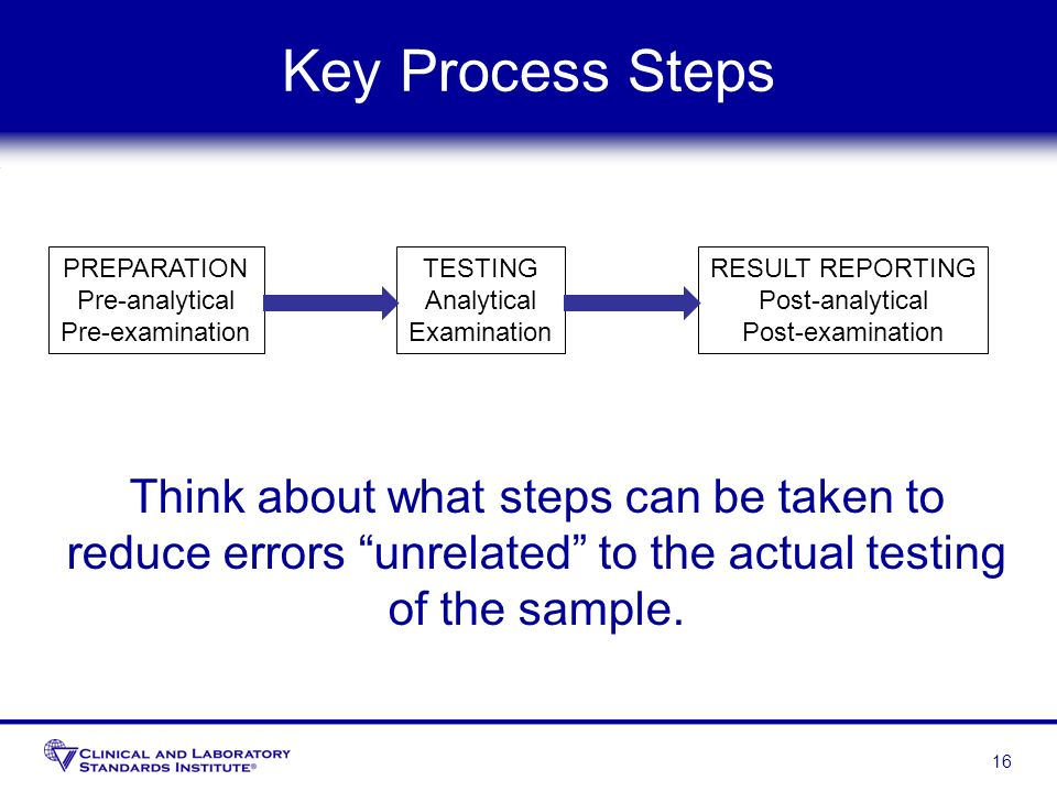 Key Process StepsPREPARATION. Pre-analytical. Pre-examination. TESTING. Analytical. Examination. RESULT REPORTING.