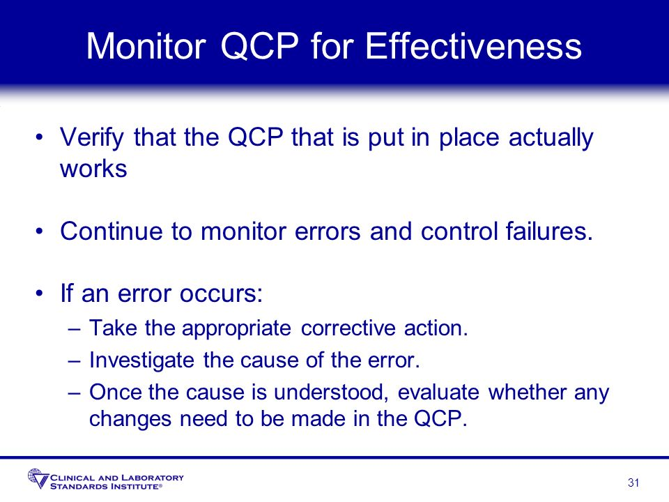 Monitor QCP for Effectiveness