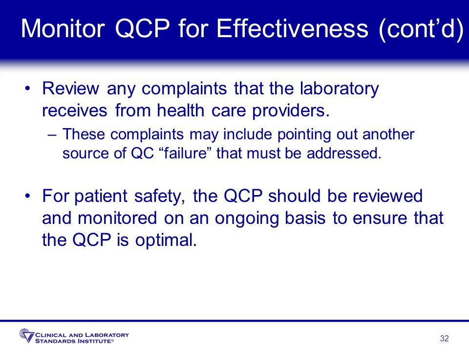 Monitor QCP for Effectiveness (cont'd)