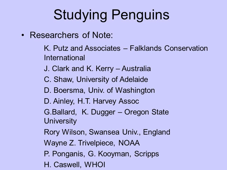 Studying Penguins Researchers of Note: