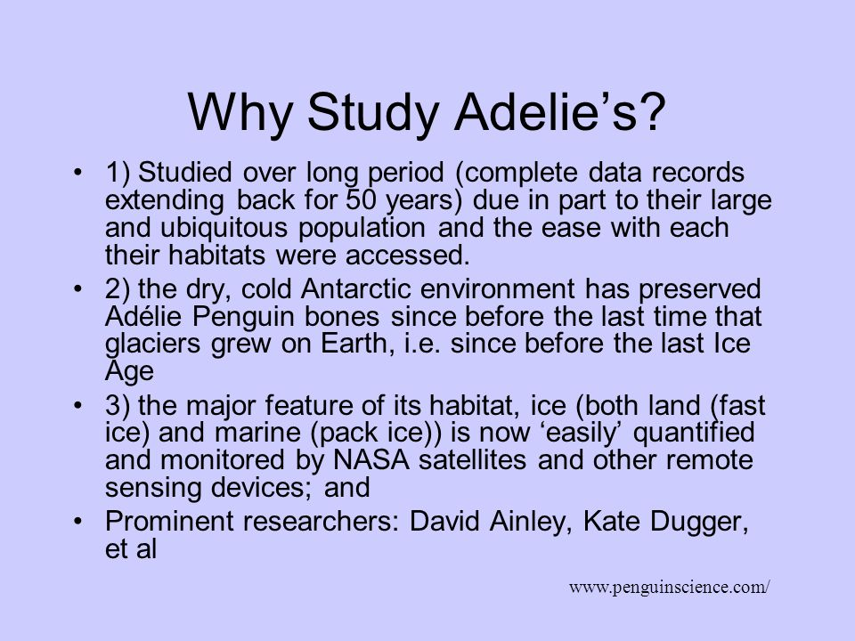 Why Study Adelie's