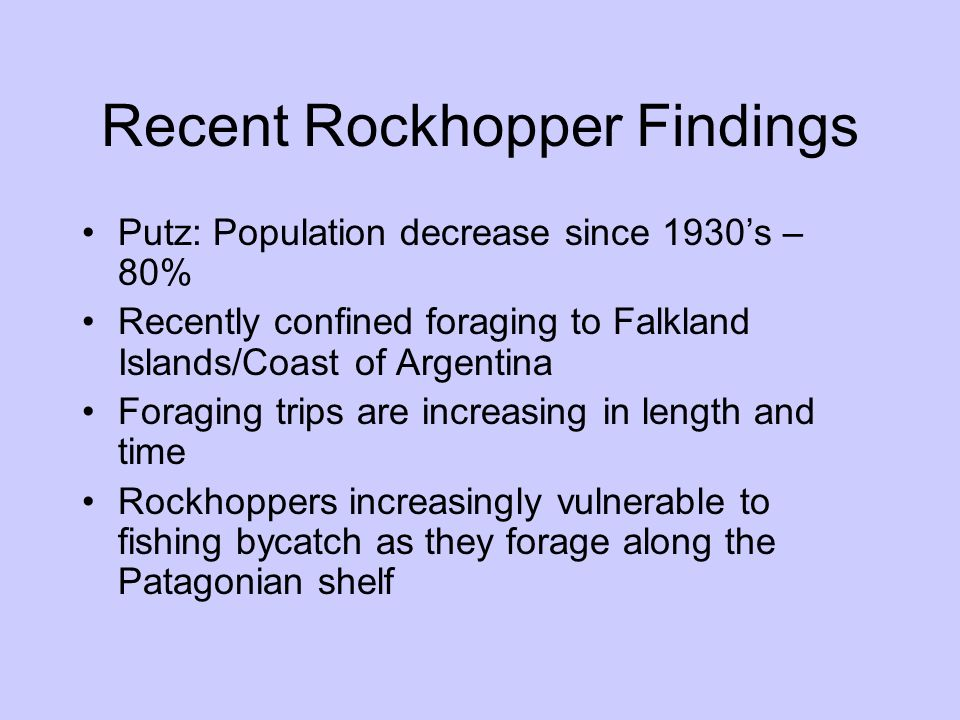 Recent Rockhopper Findings