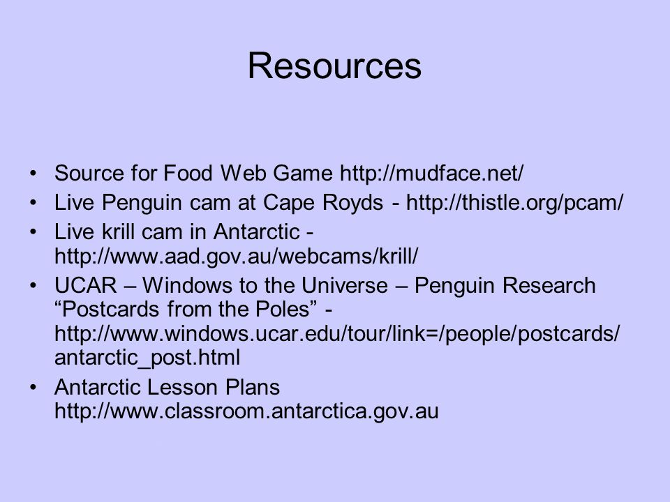 Resources Source for Food Web Game http://mudface.net/