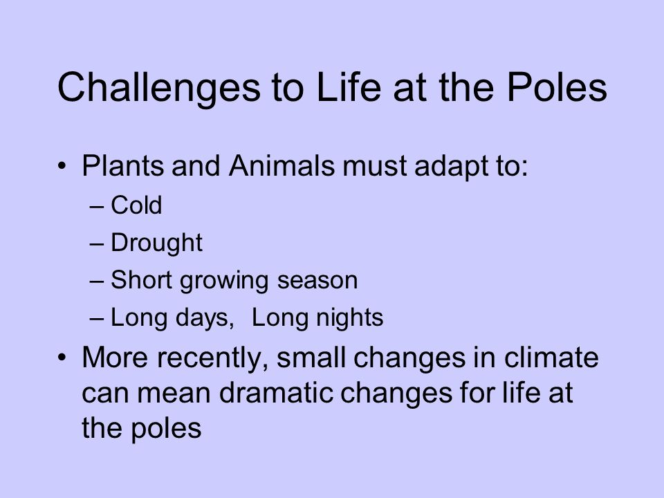 Challenges to Life at the Poles