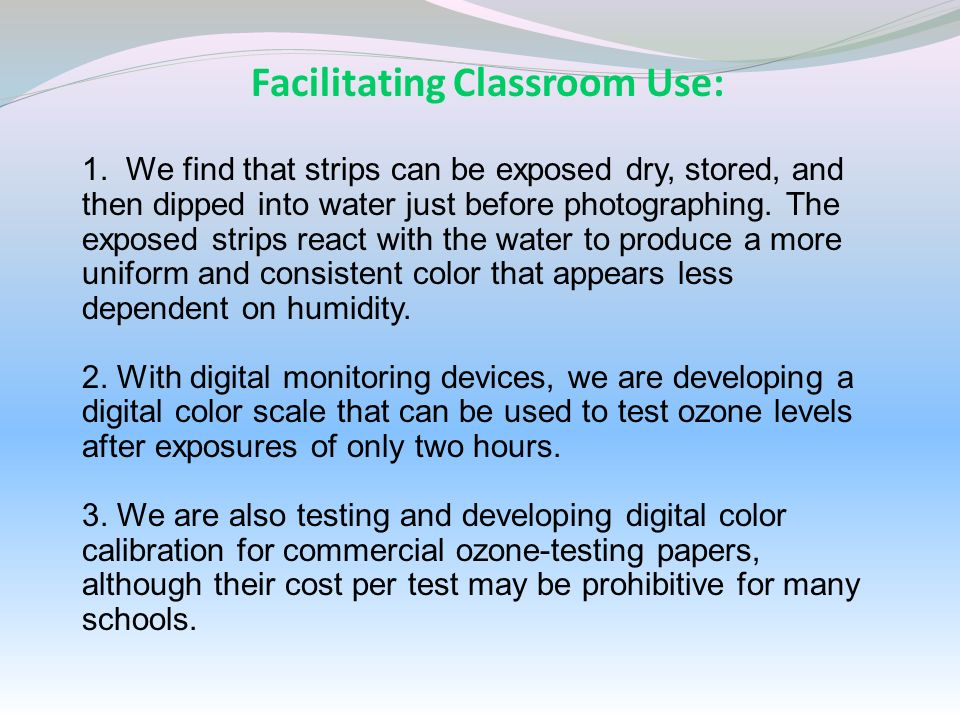 Facilitating Classroom Use: