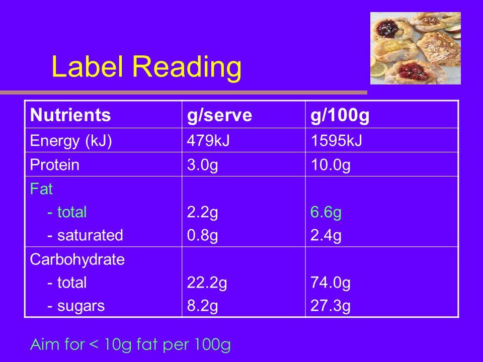 Label Reading Nutrients g/serve g/100g Energy (kJ) 479kJ 1595kJ